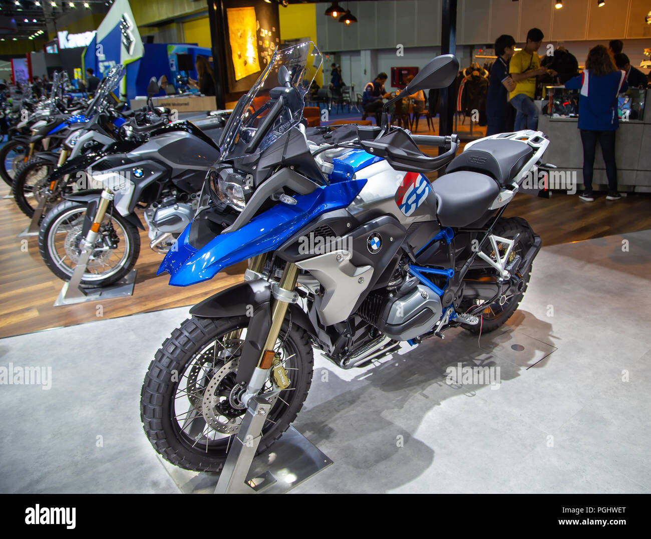 bangkok thailand august 22 2018 bmw r 1200 gs adventure motorcycle presented in big motor. Black Bedroom Furniture Sets. Home Design Ideas
