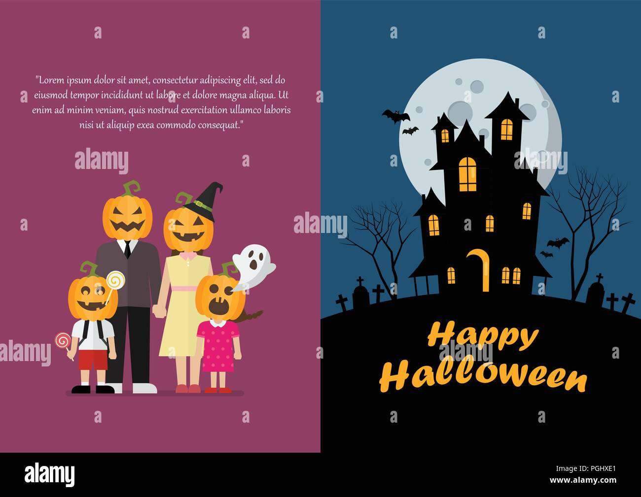 Halloween Family And Haunted House Greeting Card Vector