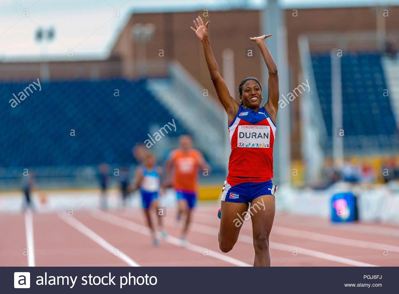 Ormara Duran,Cuban paralympic athlete wins gold. Athletics competition and medals ceremonies during the Toronto Parapan Am Games 2015 - Stock Image