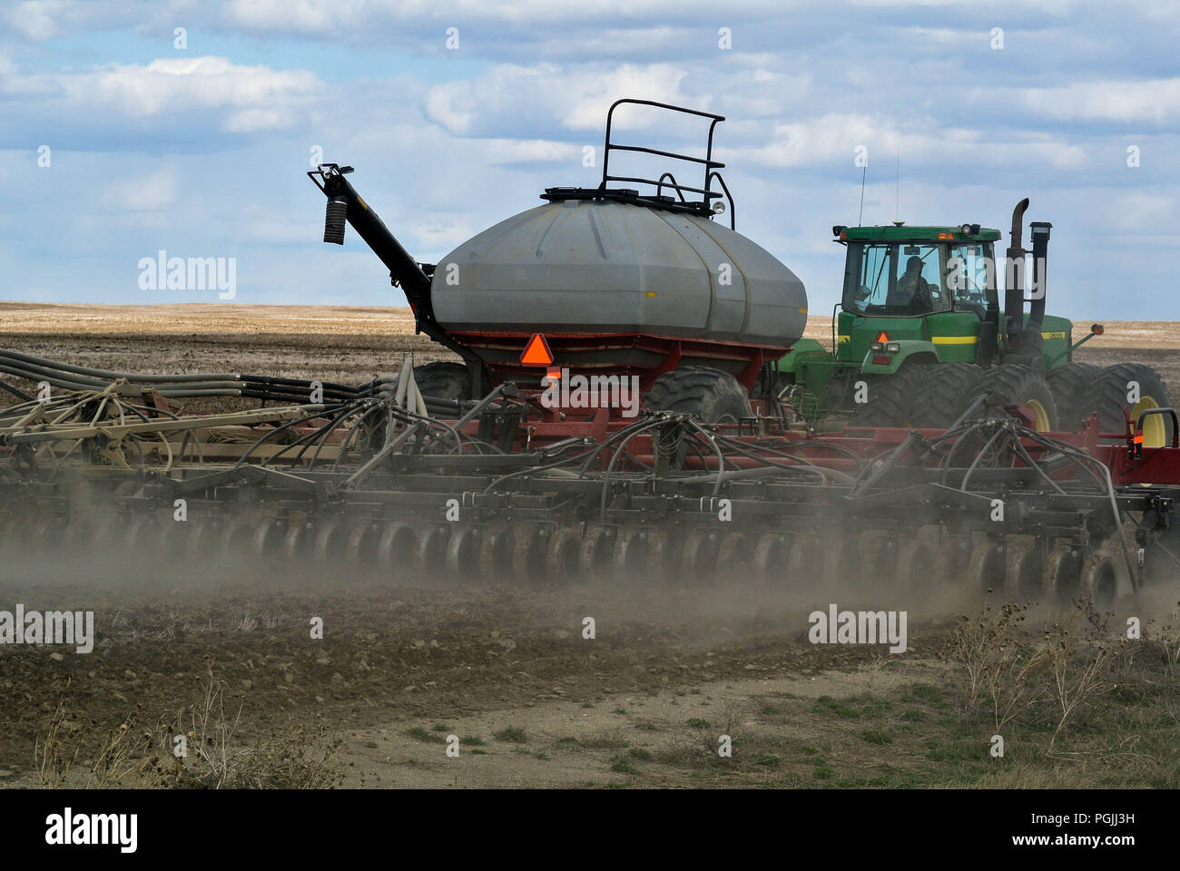 Air Drill seeding in Montana - Stock Image