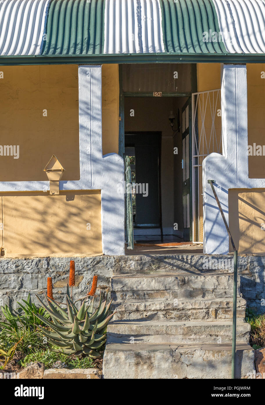 Cradock, South Africa - the Tuishuise and Victoria Manor Guesthouse an elegant collection of restored Victorian era craftsmen houses - Stock Image