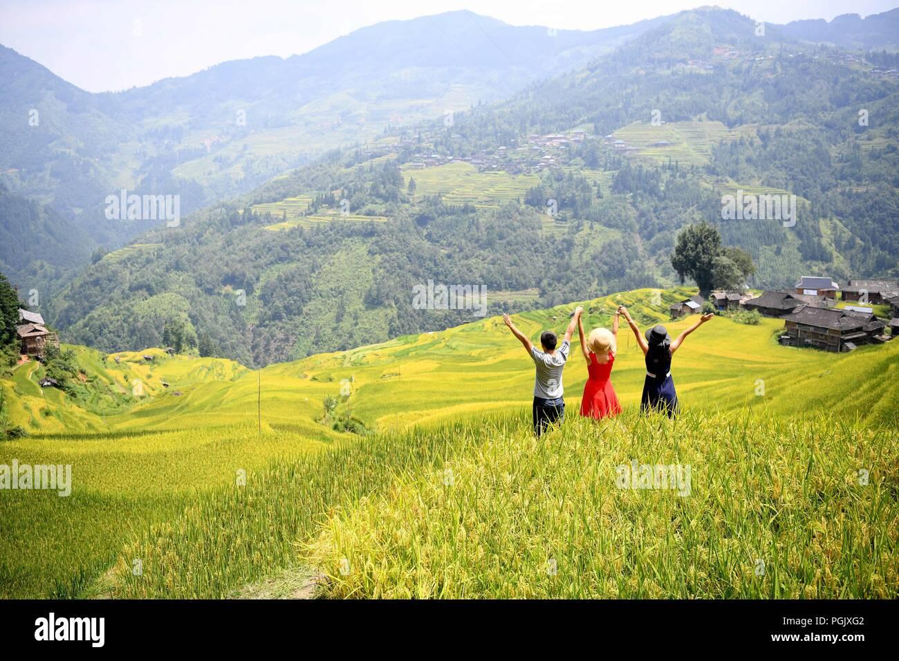 Congjiang, Congjiang, China. 27th Aug, 2018. Congjiang, CHINA-Terraced fields can be seen in Congjiang, southwest China's Guizhou Province. Credit: SIPA Asia/ZUMA Wire/Alamy Live News - Stock Image