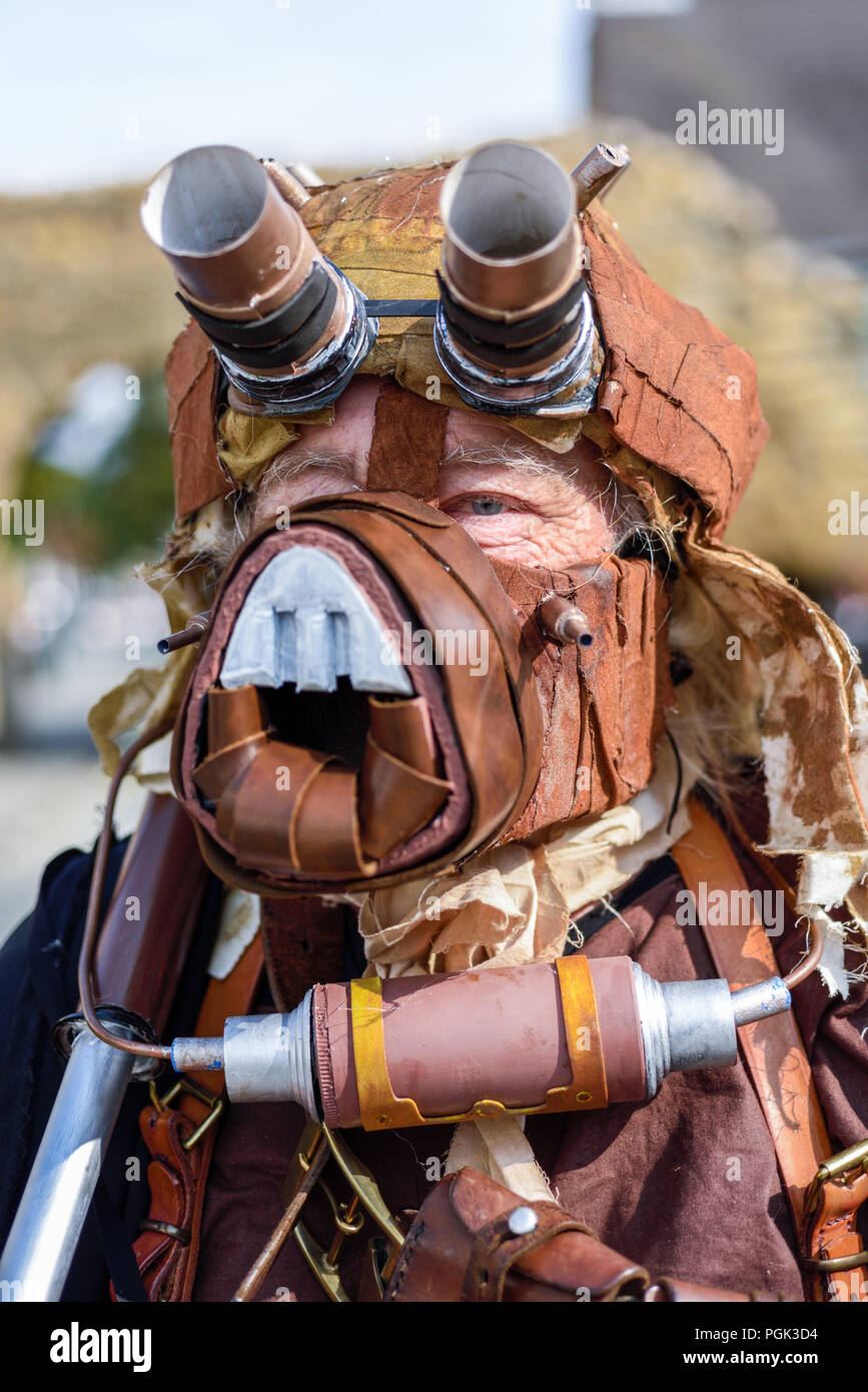 Lincoln, UK.27th August 2018: The biggest steampunk event in the world takes place this bank holiday weekend many taking part travelling from Australia, USA, Etc. Monday is parade day down Bailgate into Lincoln castle, crowds lined the streets to cheer them on. Credit: Ian Francis/Alamy Live News - Stock Image