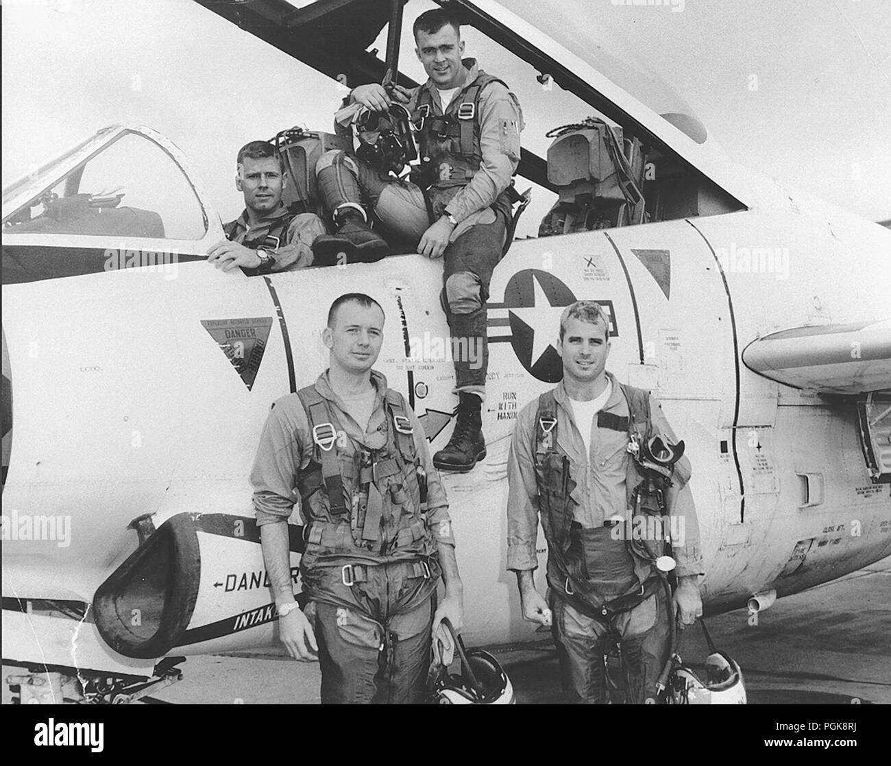Undated U.S. Navy file photo of U.S. Navy Lieutenant John S. McCain III during flight training (bottom right). McCain who died from brain cancer on August 25, 2018 was an American politician and naval officer who served as a United States Senator from Arizona from 1987 until his death. He previously served two terms in the United States House of Representatives and was the Republican nominee for President of the United States in the 2008 election, which he lost to Barack Obama. - Stock Image