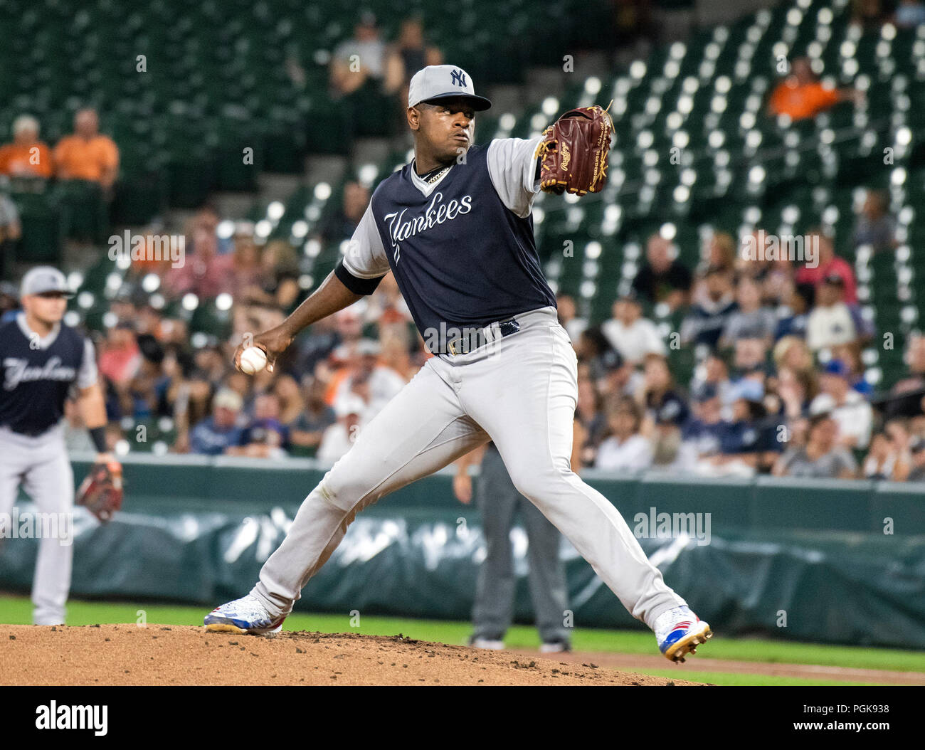 6999158b2388 New York Yankees starting pitcher Luis Severino (40) works in the first  inning against the Baltimore Orioles at Oriole Park at Camden Yards in ...