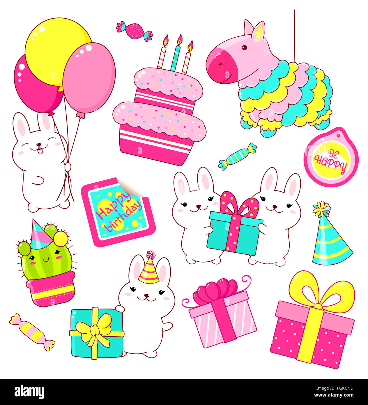 Set Of Cute Birthday Party Icons In Kawaii Style Rabbit With Gift And Balloons Cake Candles Pinata Stack Gifts Candy Sticker W