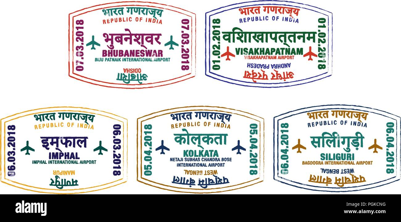 Set of stylised passport stamps for major airports of eastern India in vector format. - Stock Vector