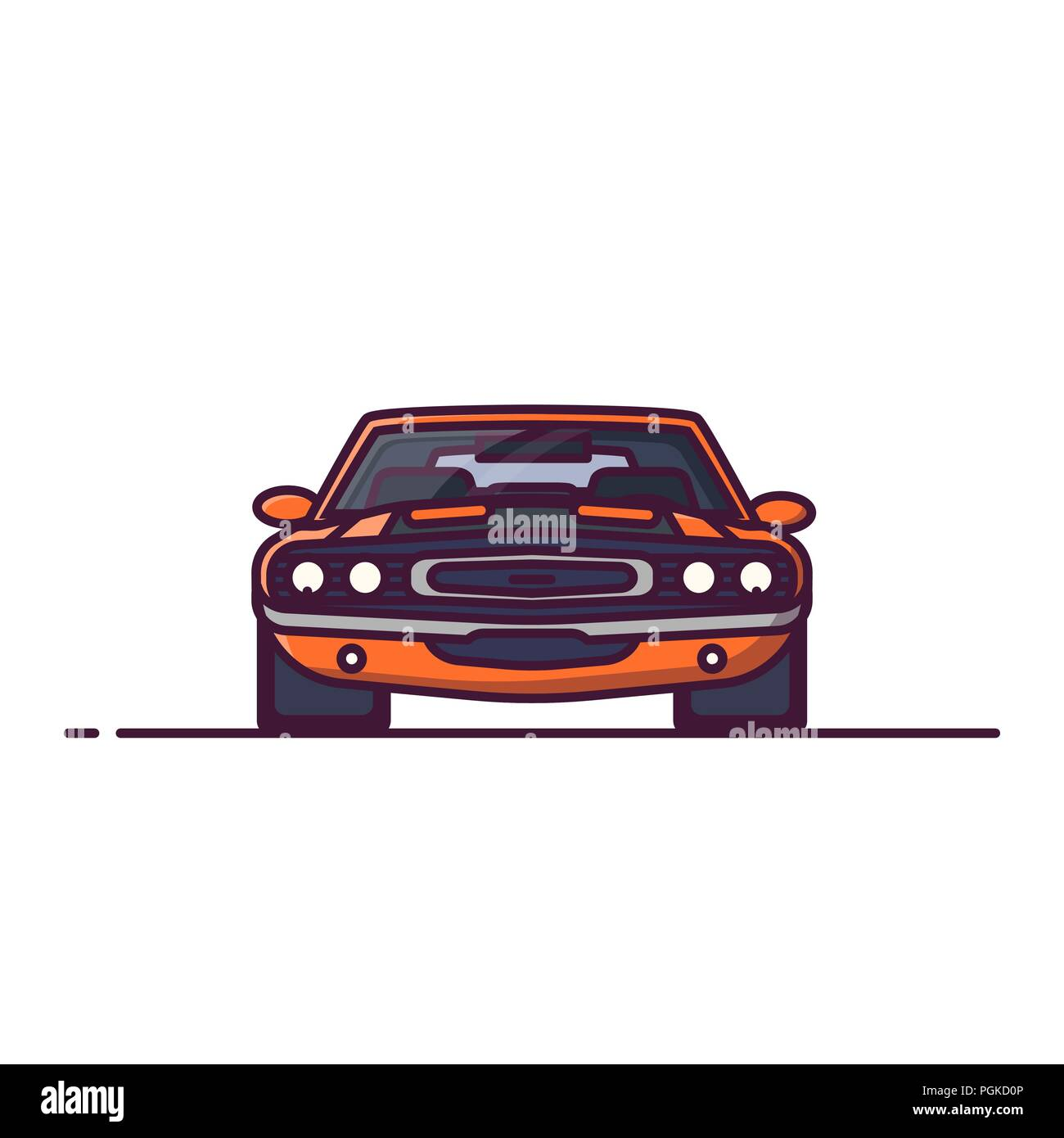 Front view of yellow muscle sport car with muscle, big engine. Challenge car for races. Line style vector illustration. Vehicle and transport banner.  - Stock Image