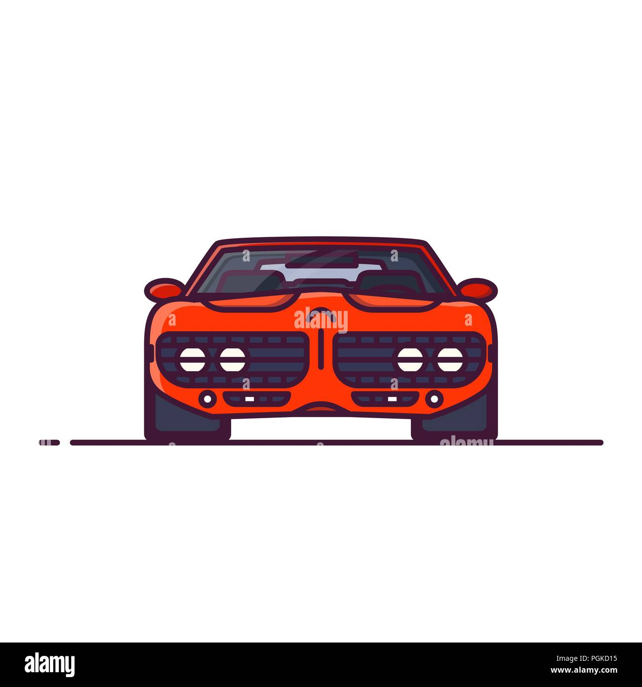 Front view of red muscle sport car with muscle engine. Line style vector illustration. Vehicle and transport banner. Retro style old car from 60s. - Stock Image