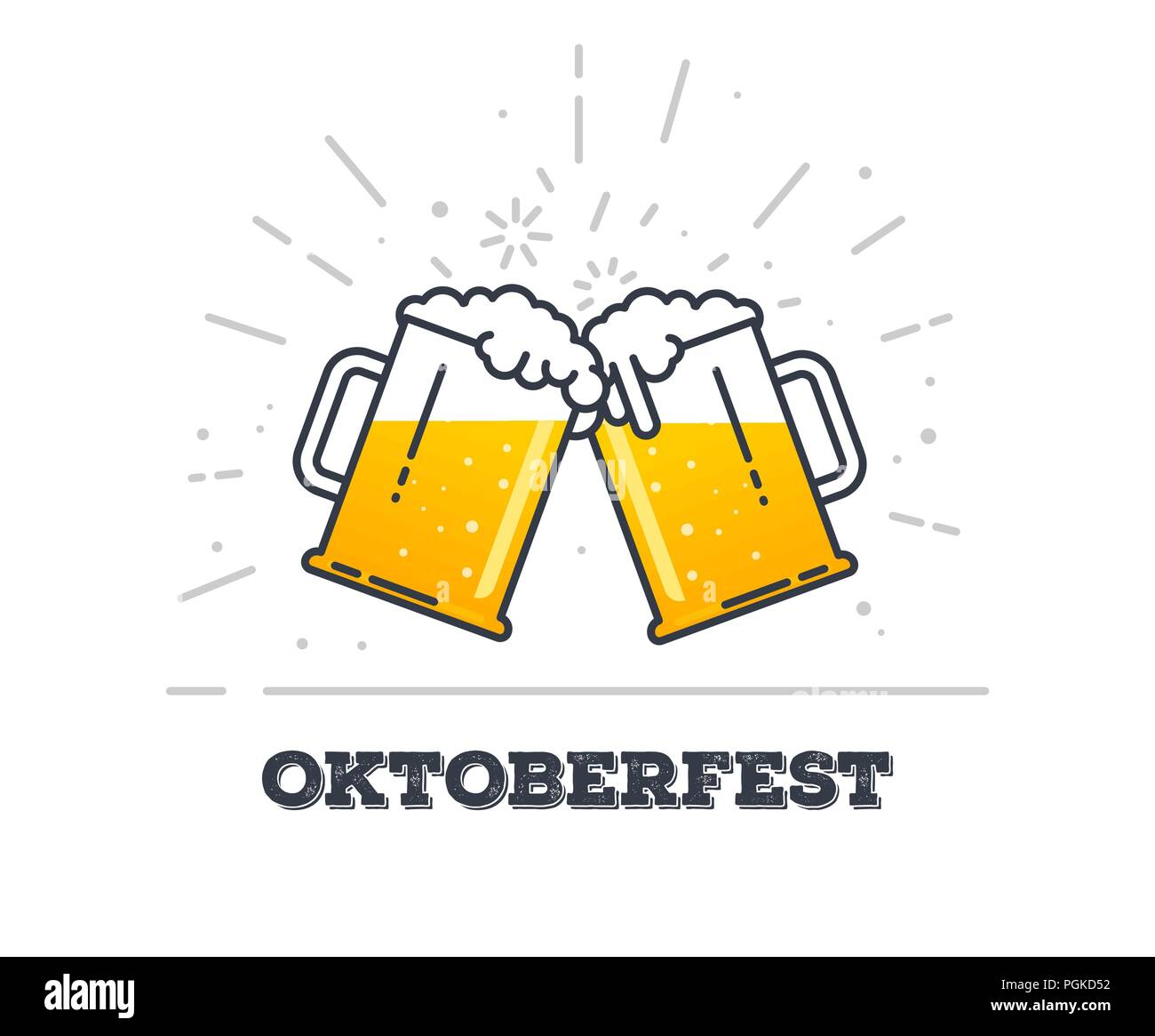 October fest concept. Two gig glasses with fresh yellow live beer and white foam, and bubbles. Line style flat vector illustration. Beer festival conc - Stock Image