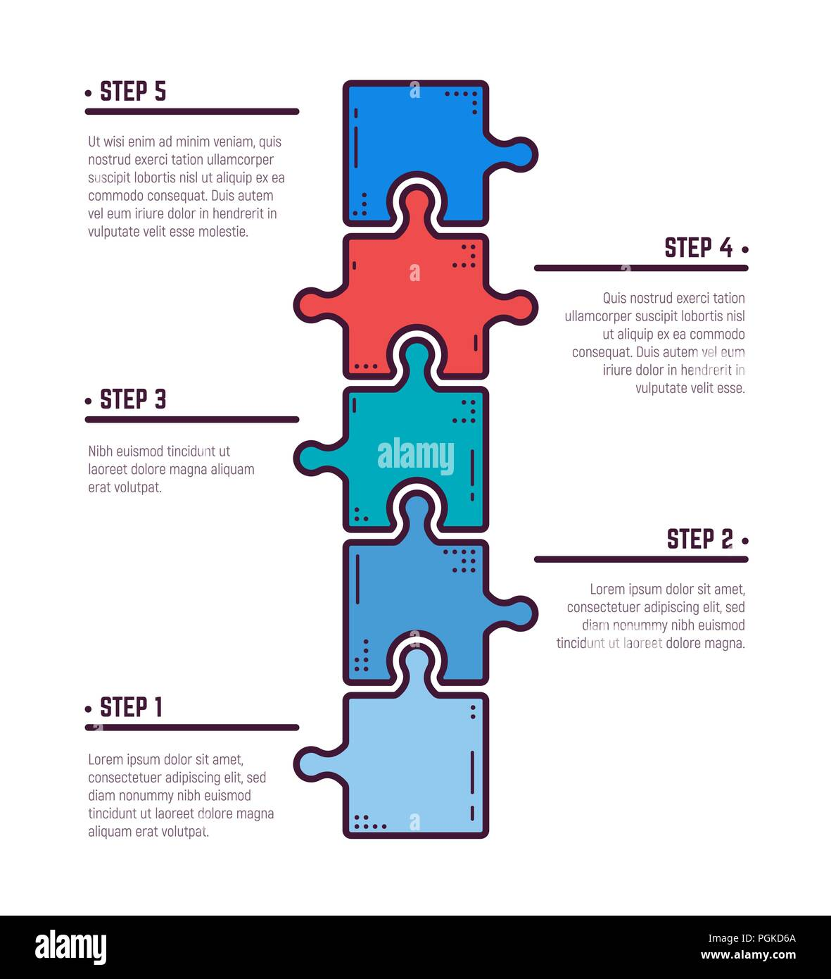 puzzle infographic bussines concept  template for business project  presentation  diagram with five puzzle pieces connected to each other   modern line