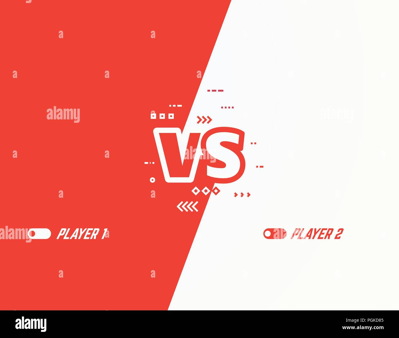Versus vector template background. Battle or competition concept template. Red and white players. Video games or fighting competitors. VS letters and  - Stock Vector