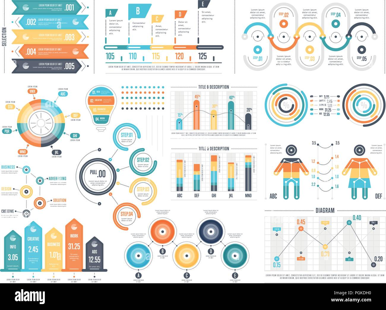 Set of colorful infographic diagrams - Stock Image