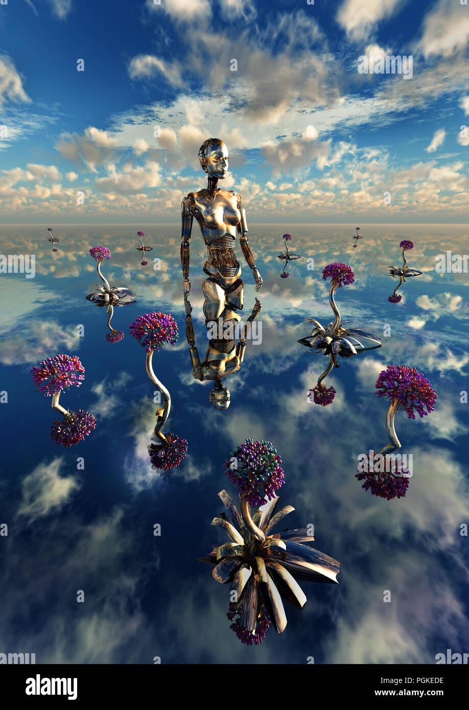 A Robots Garden - Stock Image