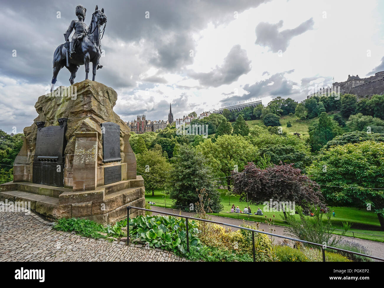 The Royal Scots Greys memorial in Princes Street Gardens West in Edinburgh Scotland UK - Stock Image