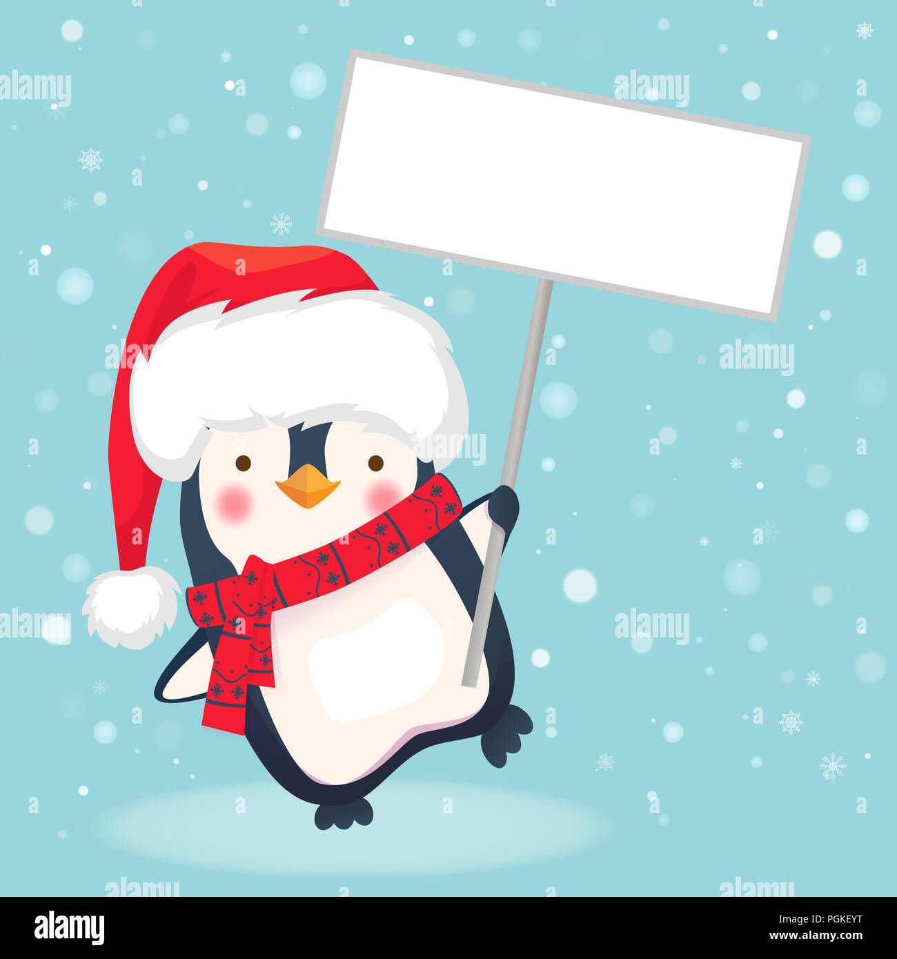Cute Christmas Pictures.Cute Christmas Penguin With Santa Hat Holding Christmas Sign