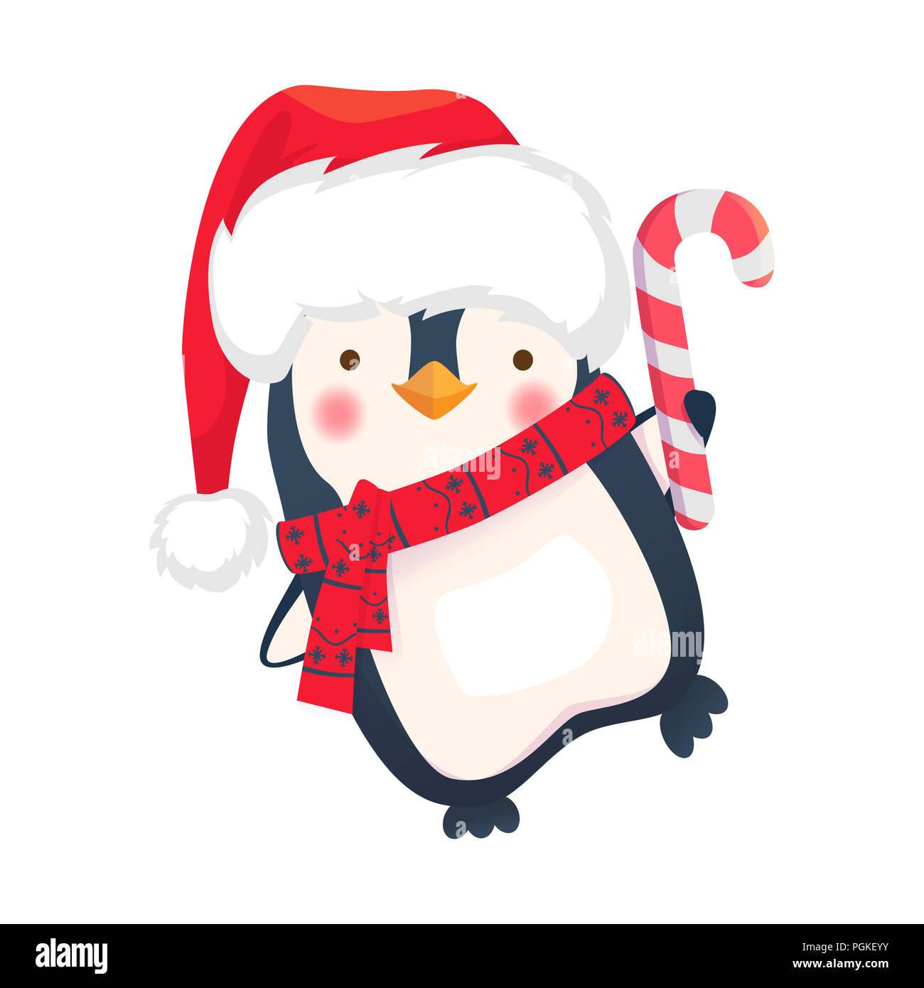 christmas penguin cartoon illustration penguin with christmas candy PGKEYY