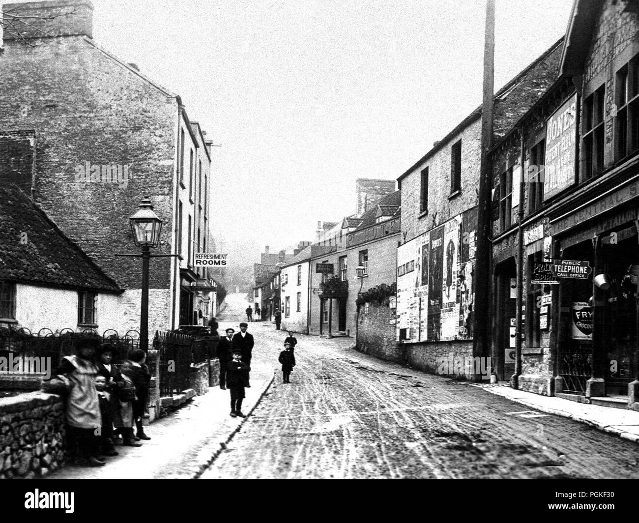 West Street, Banwell, early 1900s - Stock Image