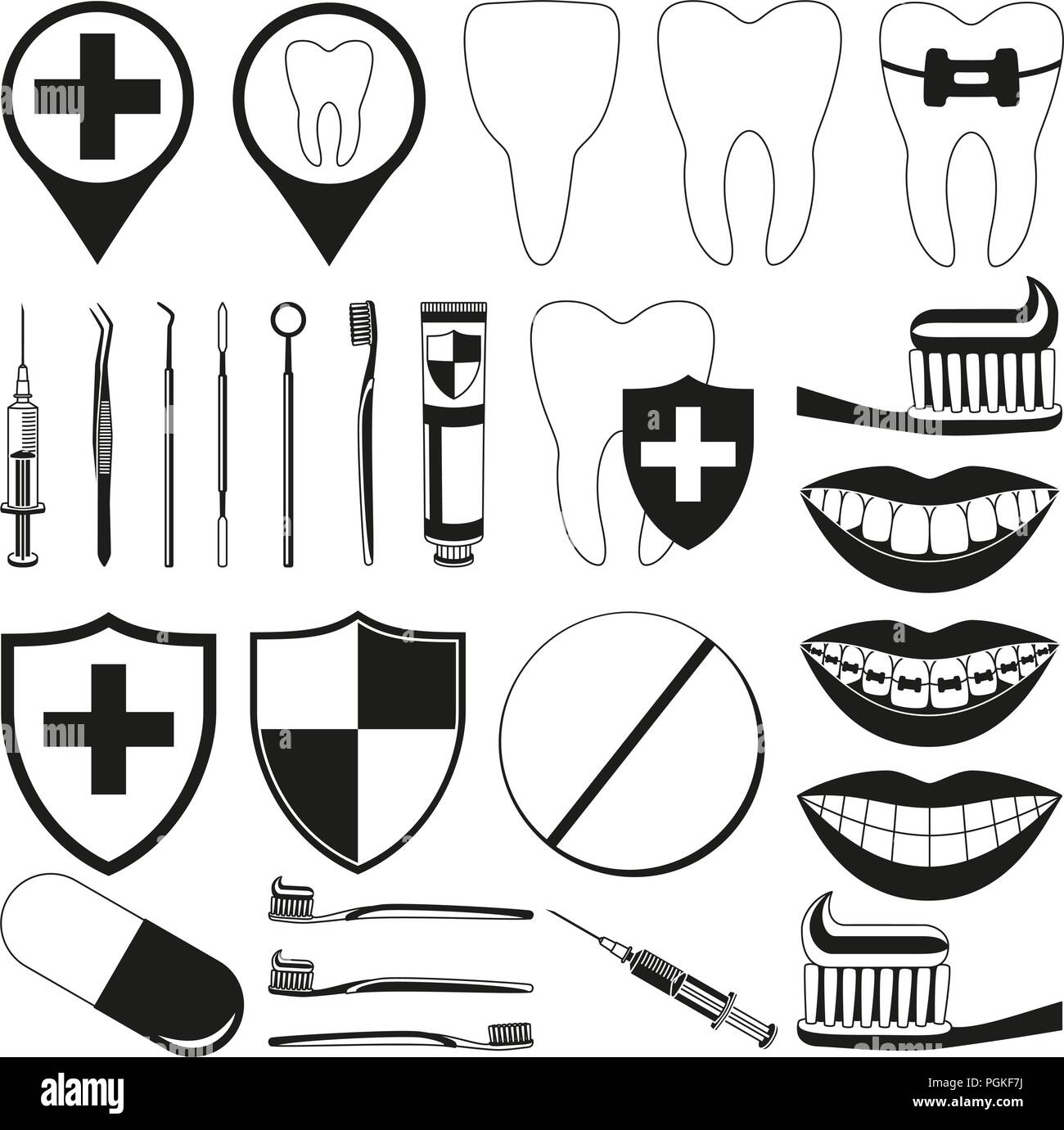 Black and white dental 28 silhouette elements set - Stock Vector