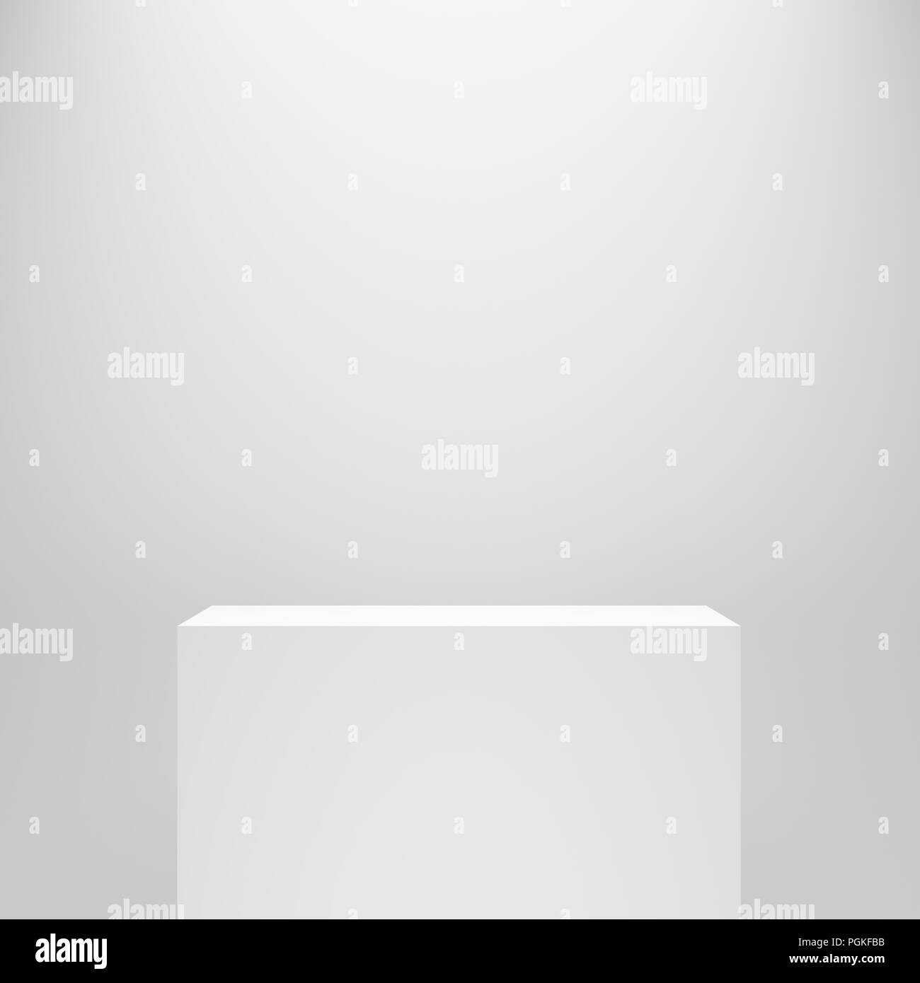 white blank empty rectangle pedestal template in front of white wall