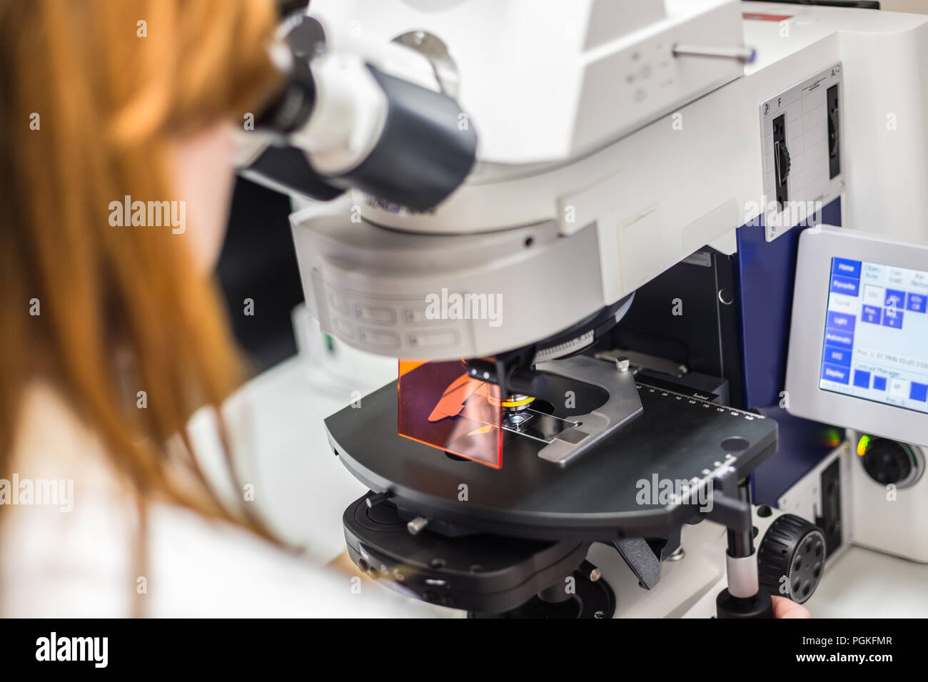 Female scientist microscoping on hi-tec fluorescent microscope. Health care professional in hes working environment. Stock Photo