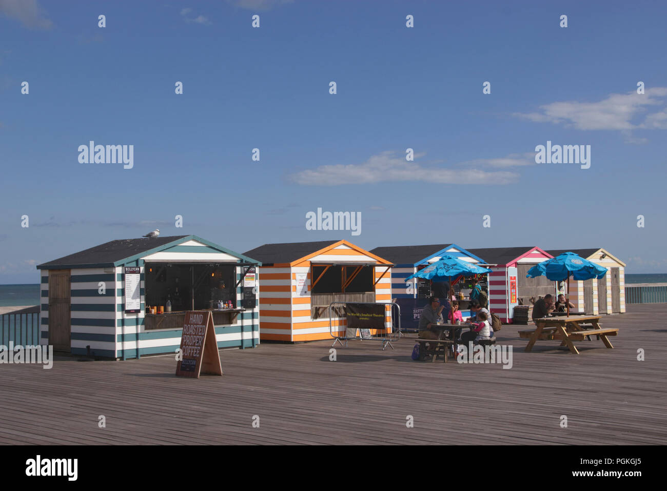 Billycan Coffee shop on new Hastings pier summer 2018 - Stock Image