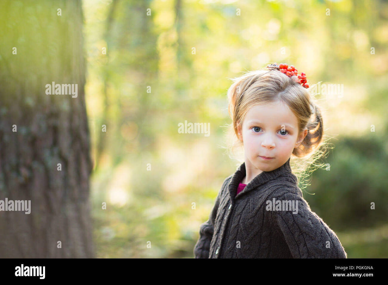cute girl in nature with beautiful hairstyle with rowan berries.Dreamy young blonde girl hold in hands Rowan berries and look out. Autumn park.happy autumn.Copy space Stock Photo