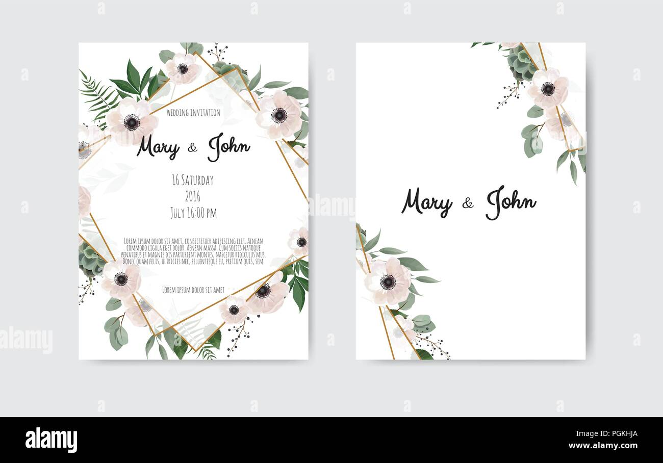 Botanical wedding invitation card template design, white and pink ...
