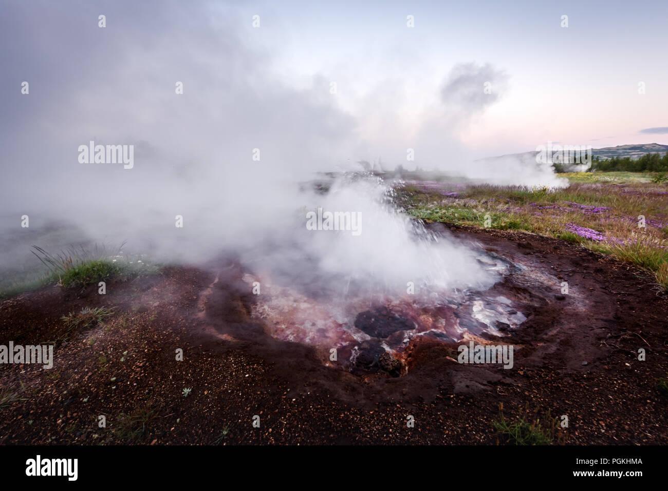 Smoking fumarole on Haukadalur valley Stock Photo