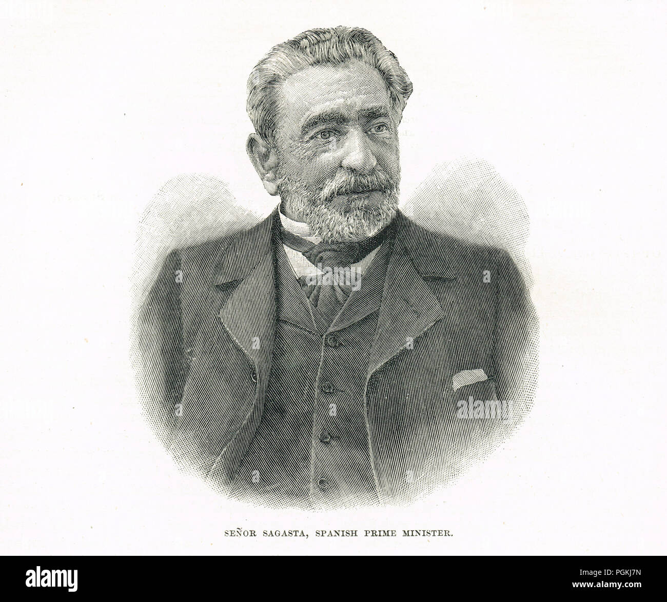 Práxedes Mariano Mateo Sagasta y Escolar, Prime Minister of Spain during the Spanish–American War of 1898, during which time Spain lost its remaining colonies - Stock Image
