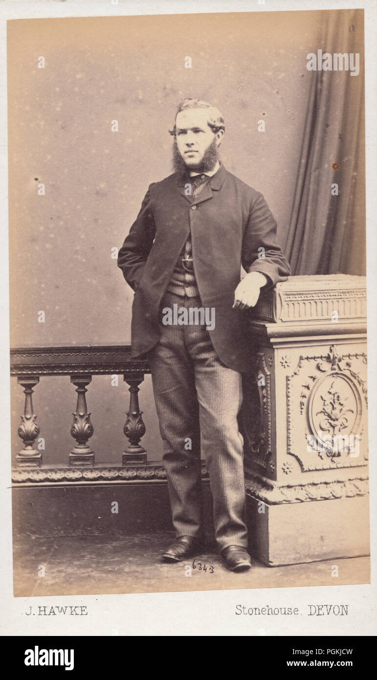 Stonehouse Devon CDV Carte De Visite Of A Victorian Man With Sideburns