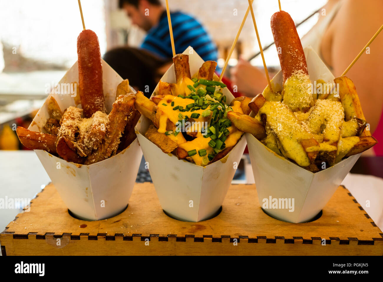 sausages with potatoes in fast food - Stock Image