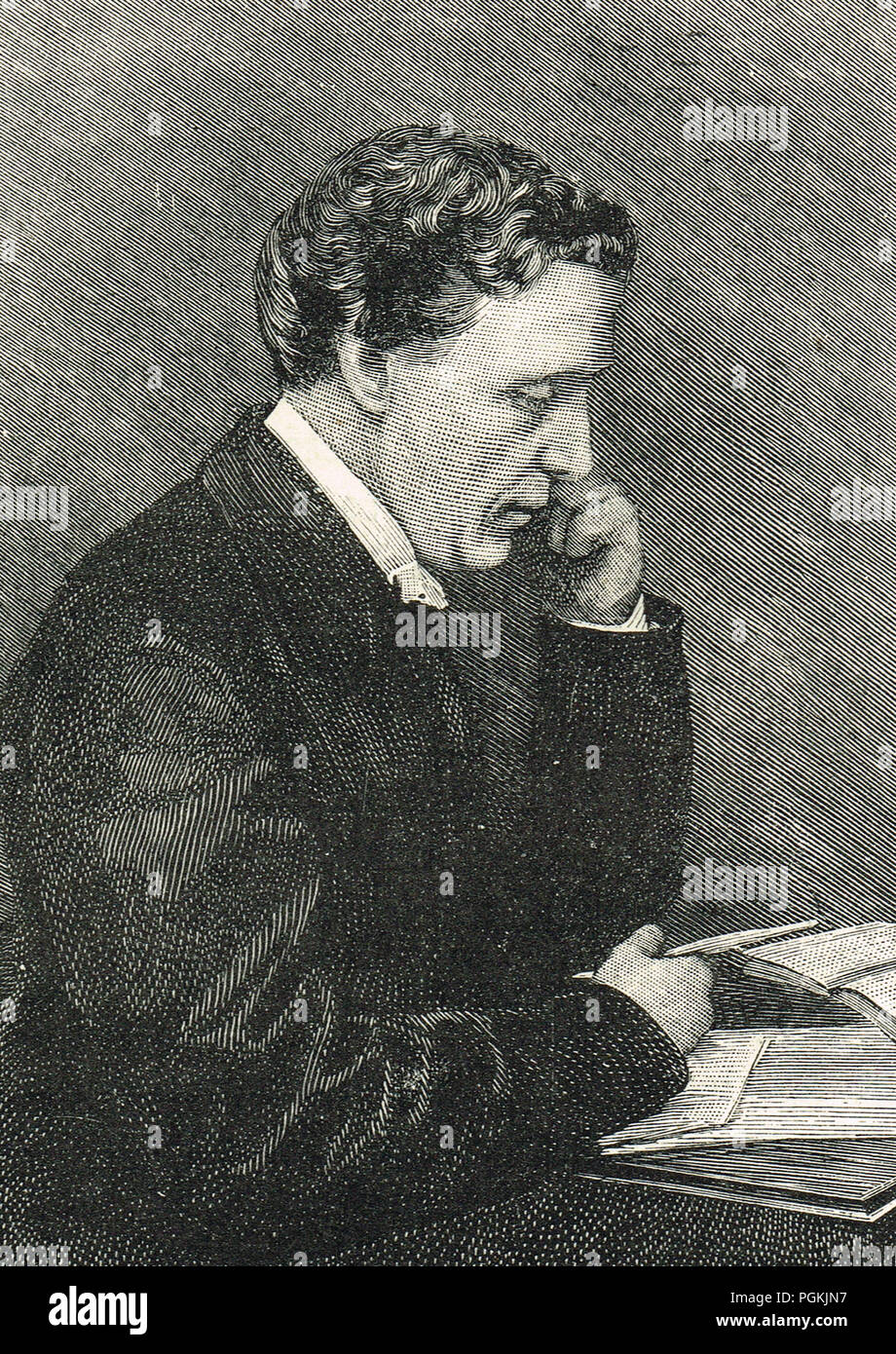Lewis Carroll, real name Charles Lutwidge Dodgson, famous for Alice's Adventures in Wonderland, Through the Looking-Glass, and the poems Jabberwocky, and The Hunting of the Snark - Stock Image