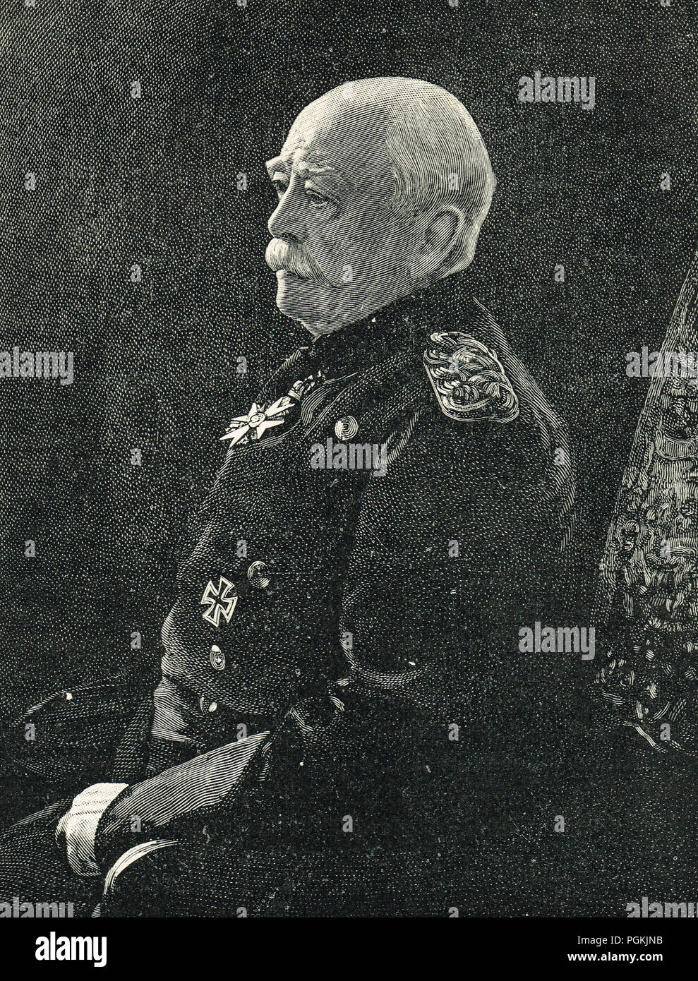 Otto von Bismarck, first Chancellor of the German Empire at age of Seventy Nine - Stock Image