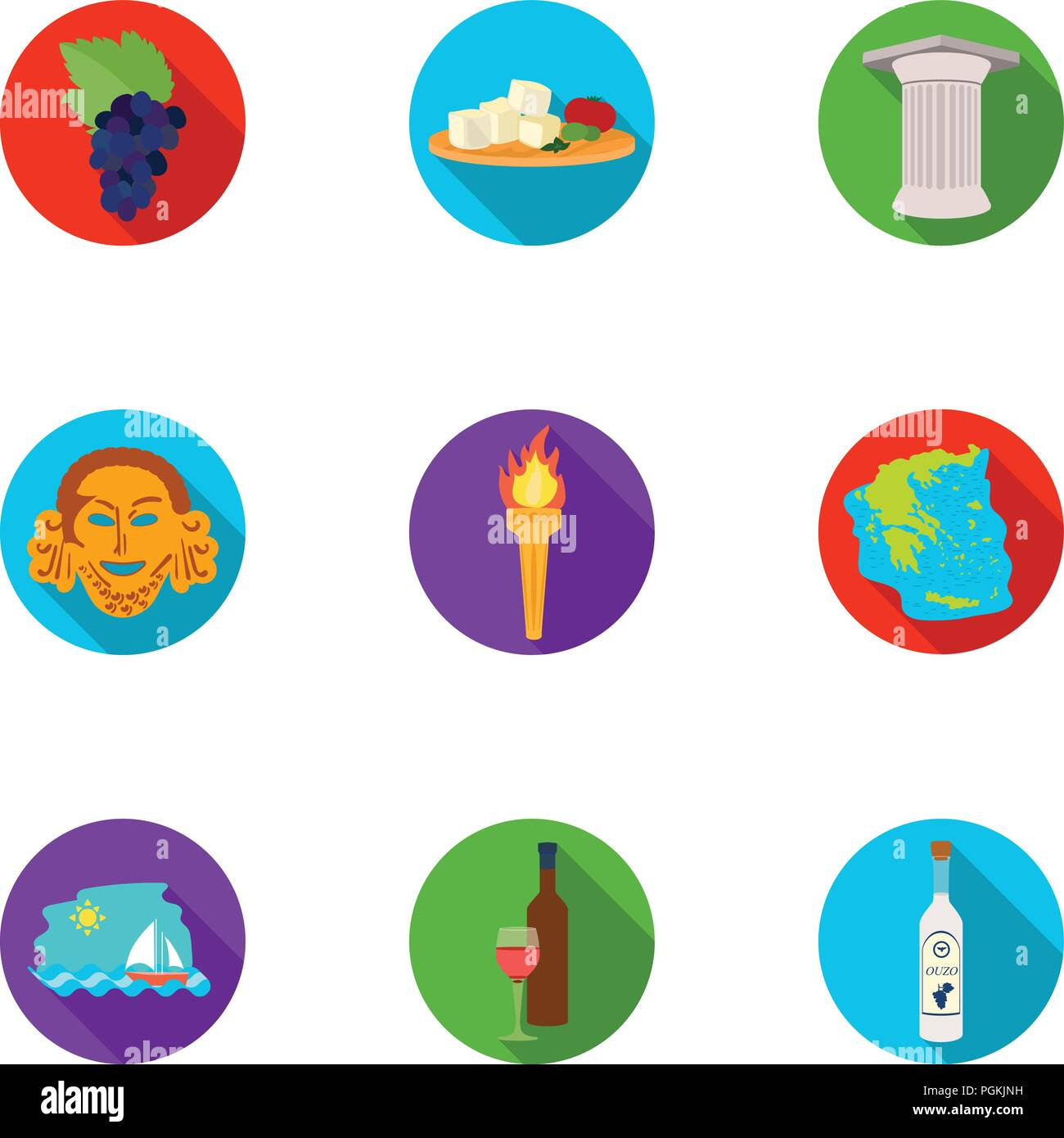 Greece Set Icons In Flat Design Big Collection Of Greece Vector
