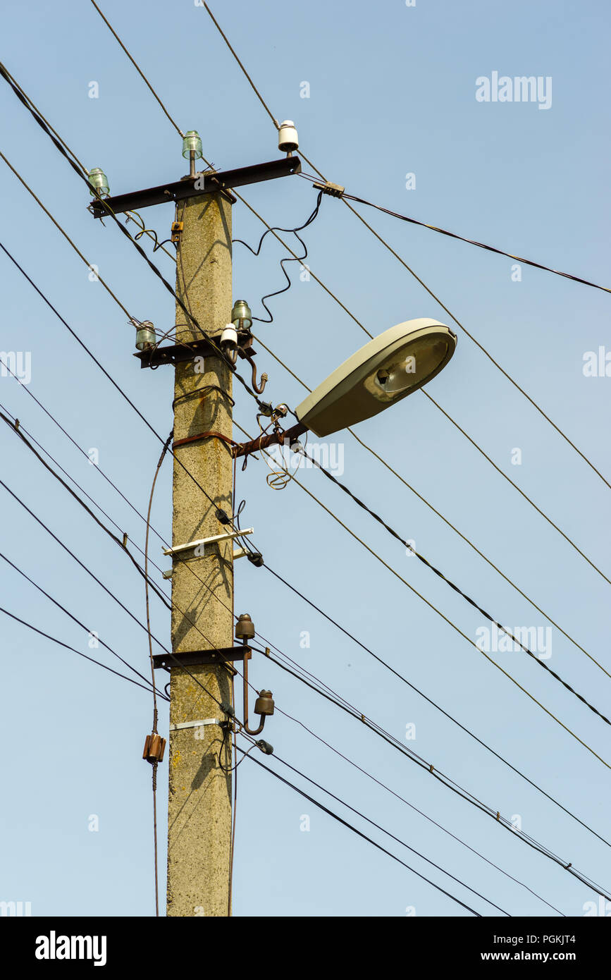 Electrical Wires And Connection On An Electric Post Stock Photo Wiring