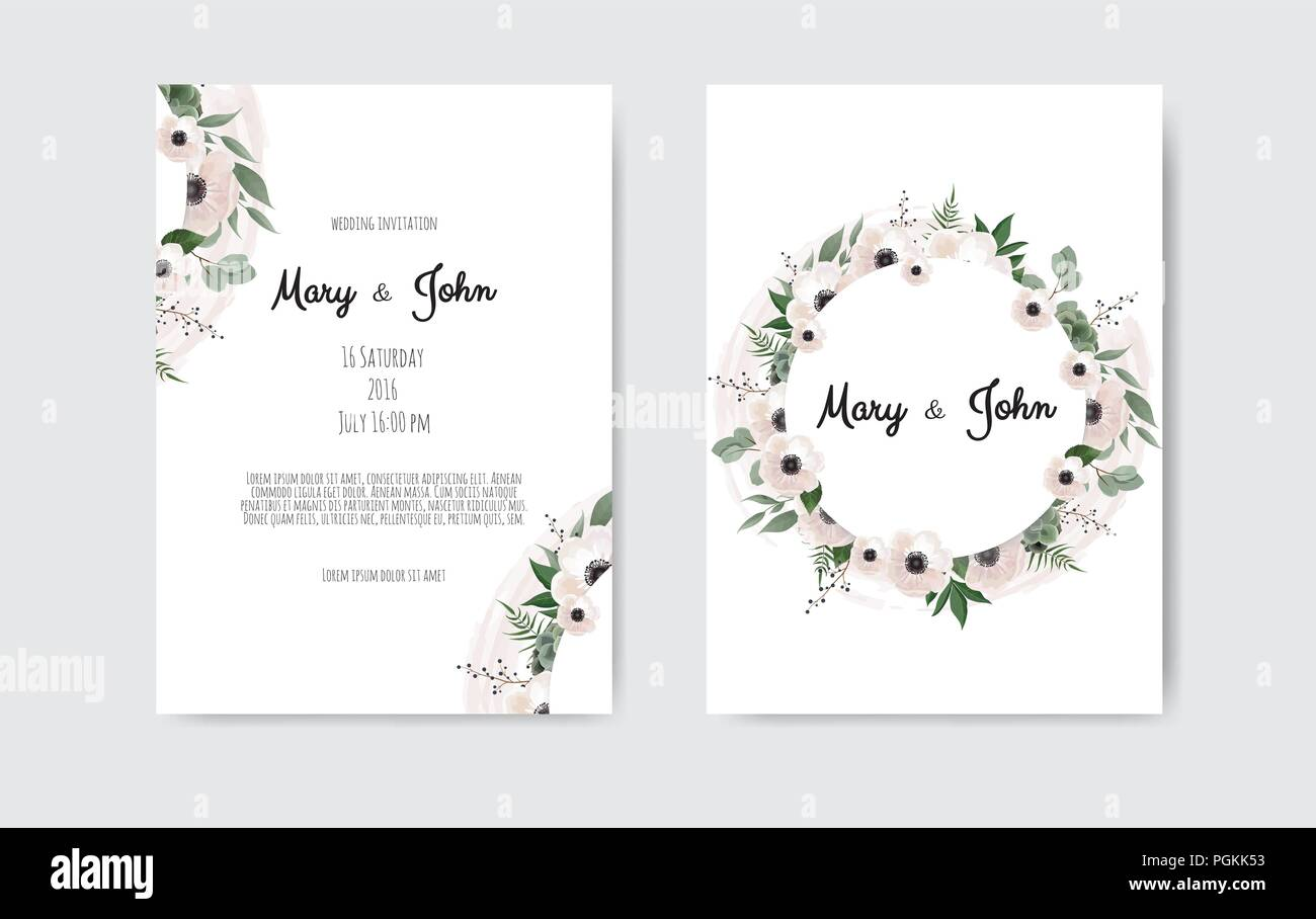 Wedding invite, invitation. Botanical wedding invitation card