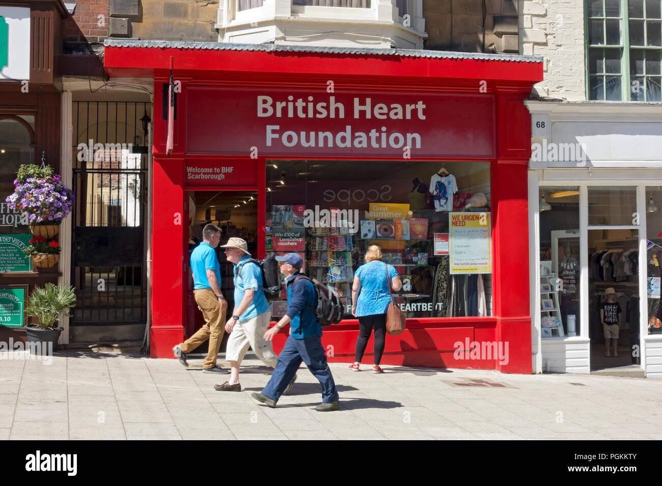 493e4d934e0306 British Heart Foundation charity shop store Scarborough North Yorkshire  England UK United Kingdom GB Great Britain