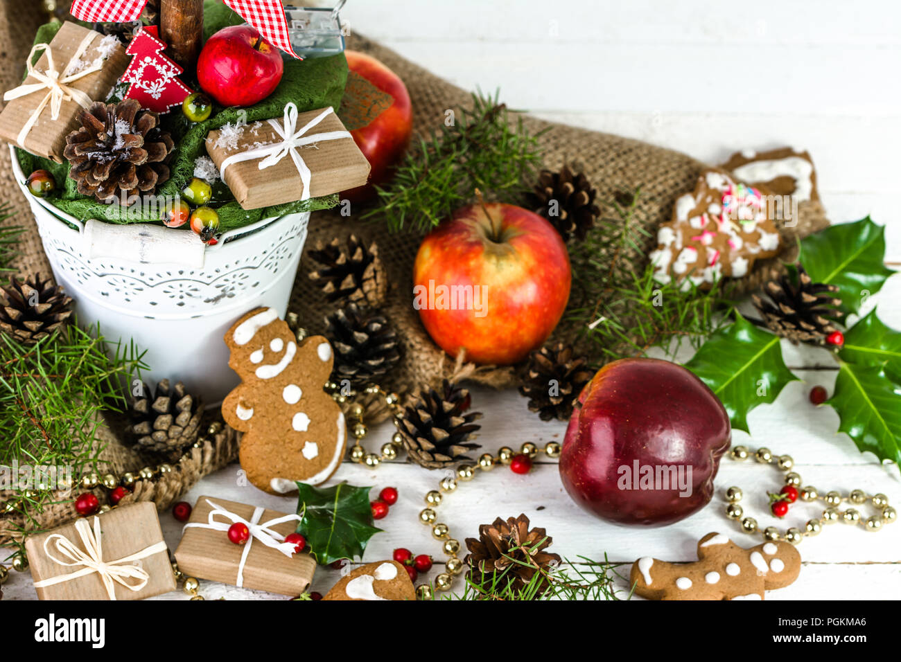 Background with christmas decoration, christmas gift, food ...