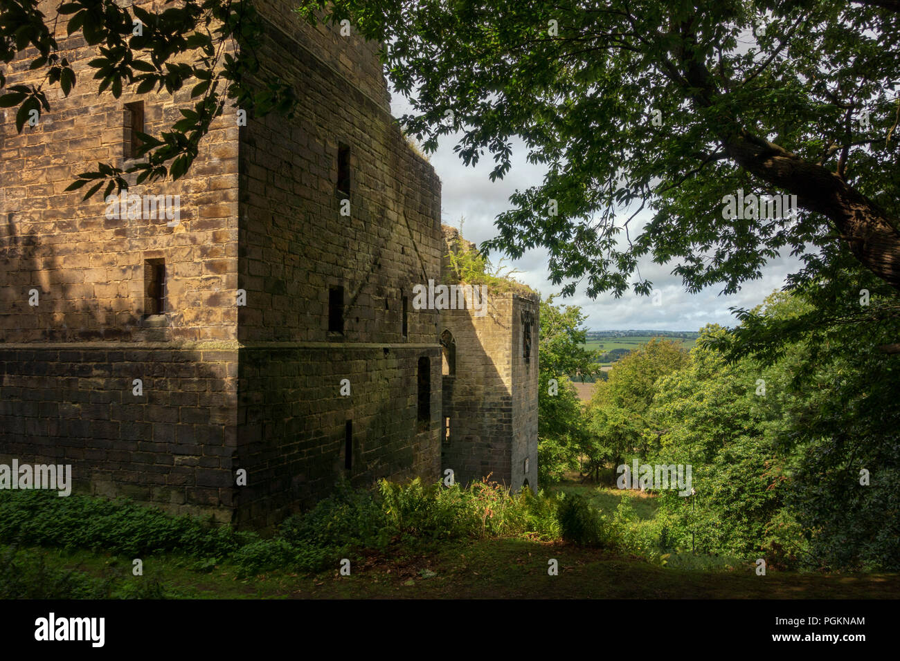 Harewood Castle, a fourteenth century hall house and courtyard located on the Harewood Estate, rescued by the latter and English Heritage, West Yorksh - Stock Image