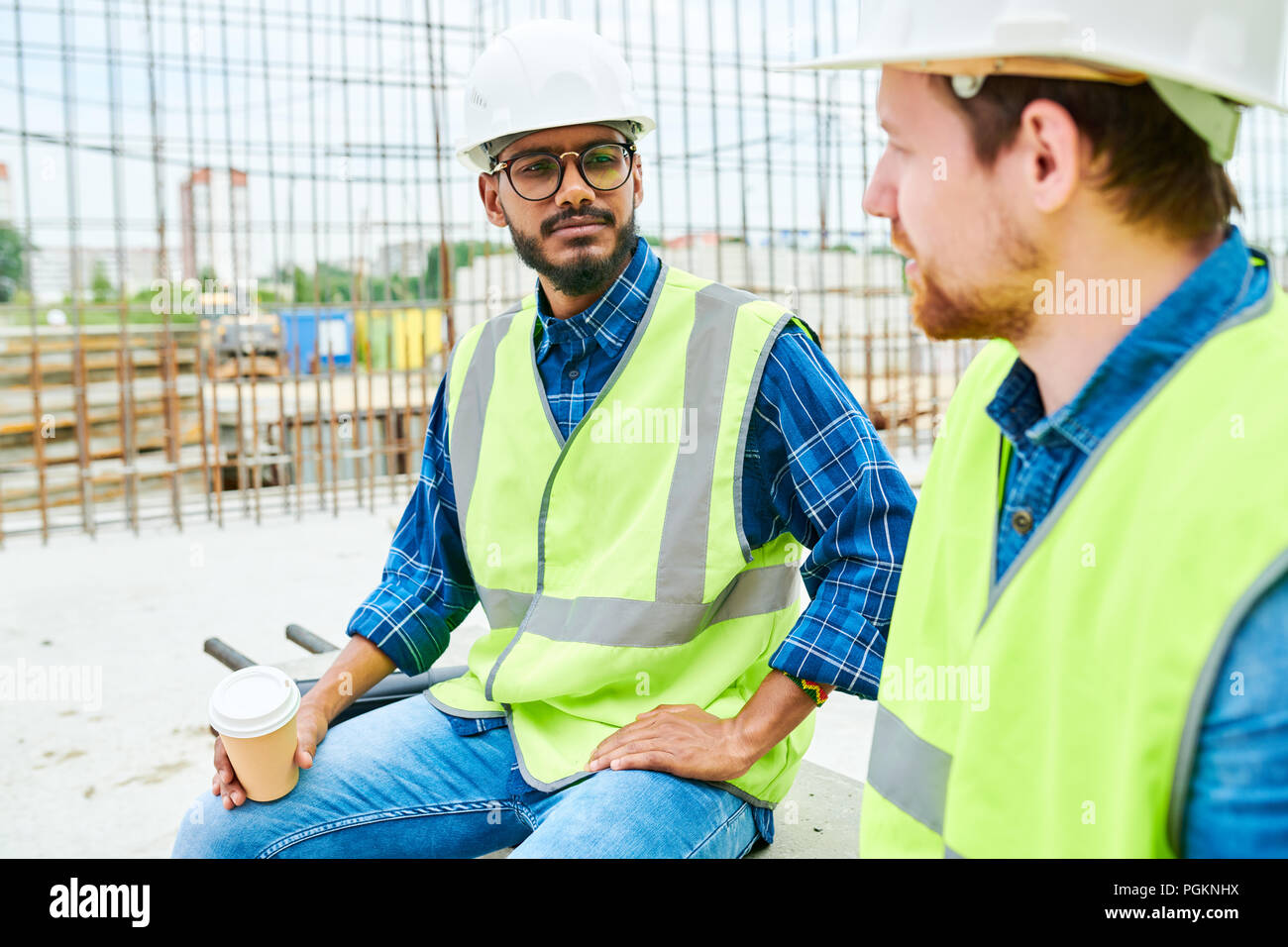 Construction Workers Taking Break Site Stock Photos