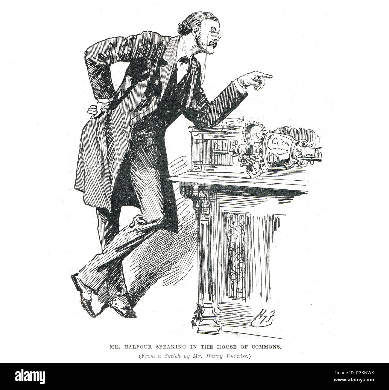 Arthur Balfour speaking in the House of Commons by Harry Furniss - Stock Image