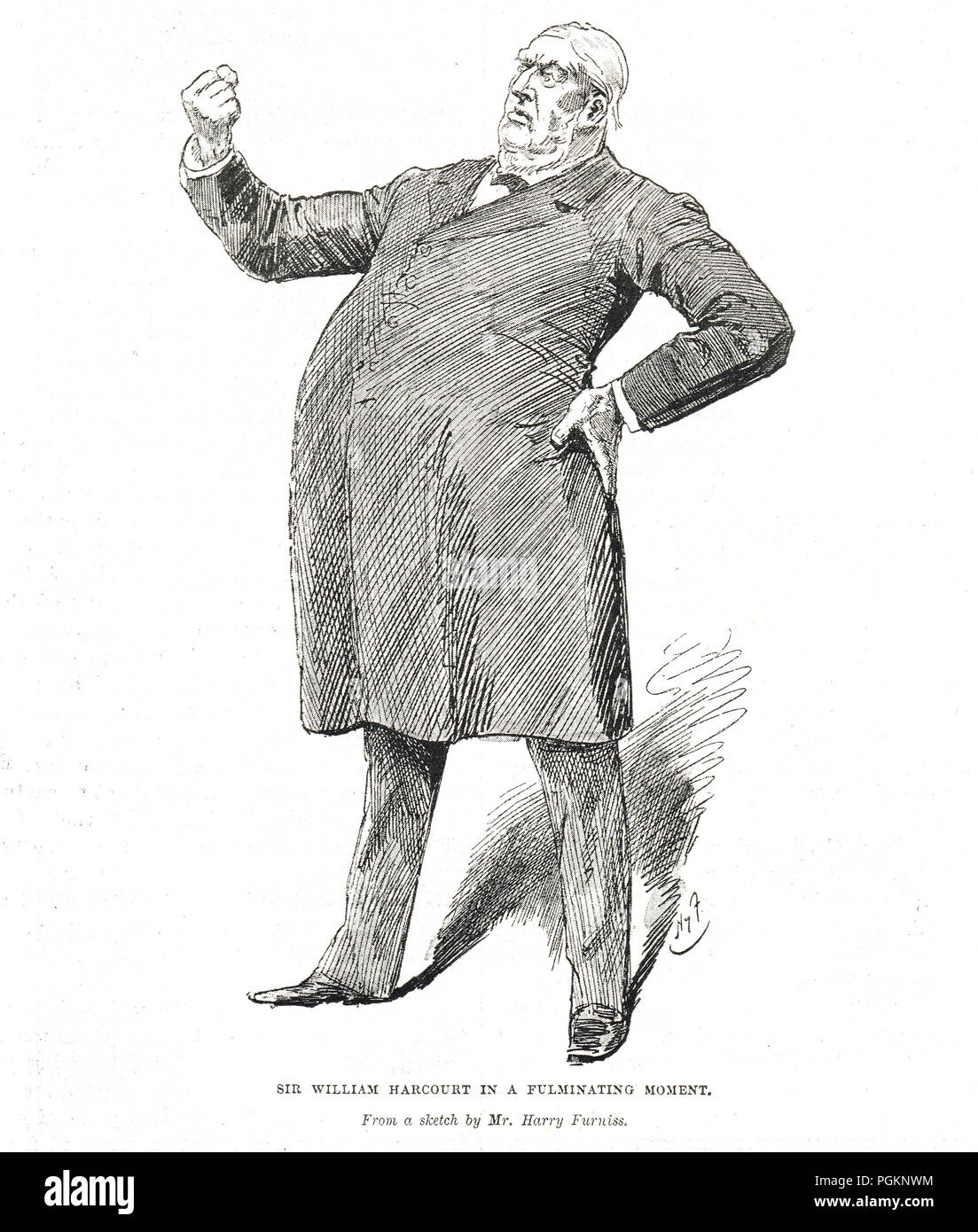 Sir William Harcourt in a fulminating moment by Harry Furniss - Stock Image