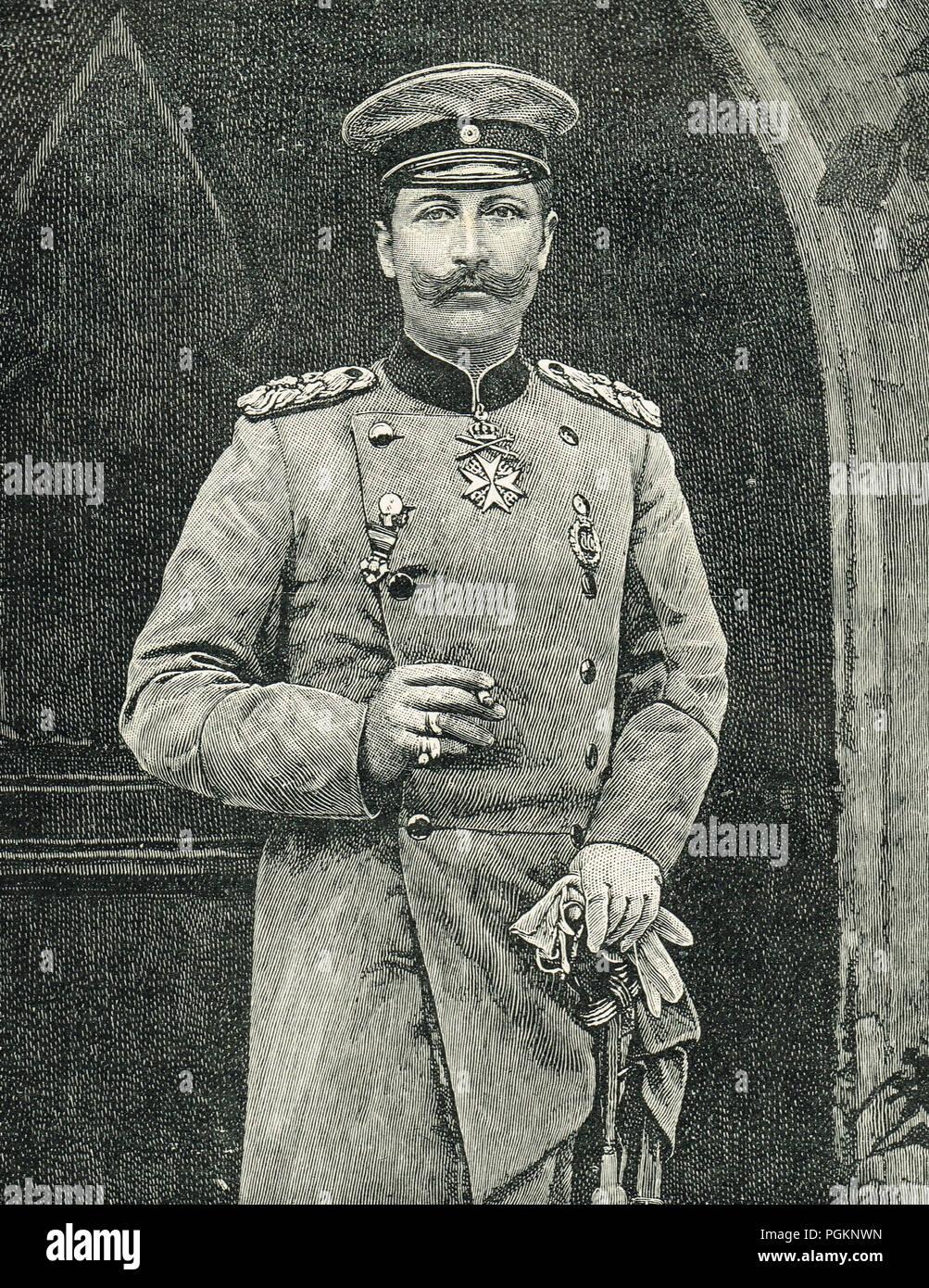 Kaiser Wilhelm II, circa 1890's - Stock Image
