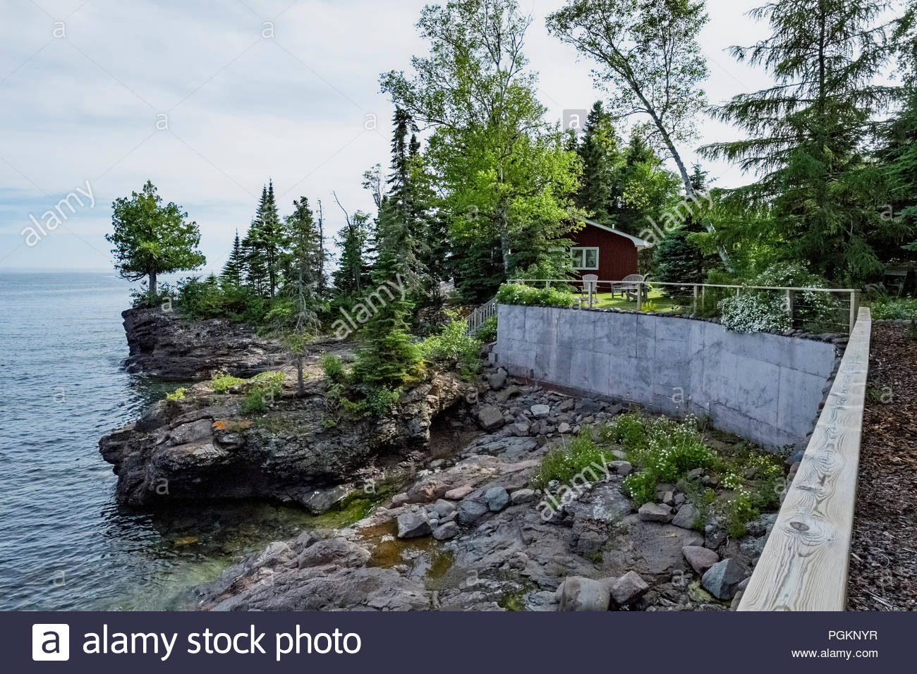 Cabin with sweeping views of Lake Superior in Lutsen,  Minnesota, USA Stock Photo