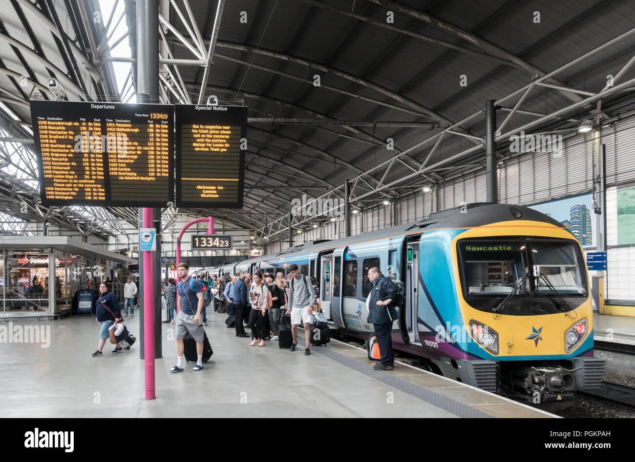 Transpennine Express train at Leeds train station, Leeds, West Yorkshire, England. UK Stock Photo