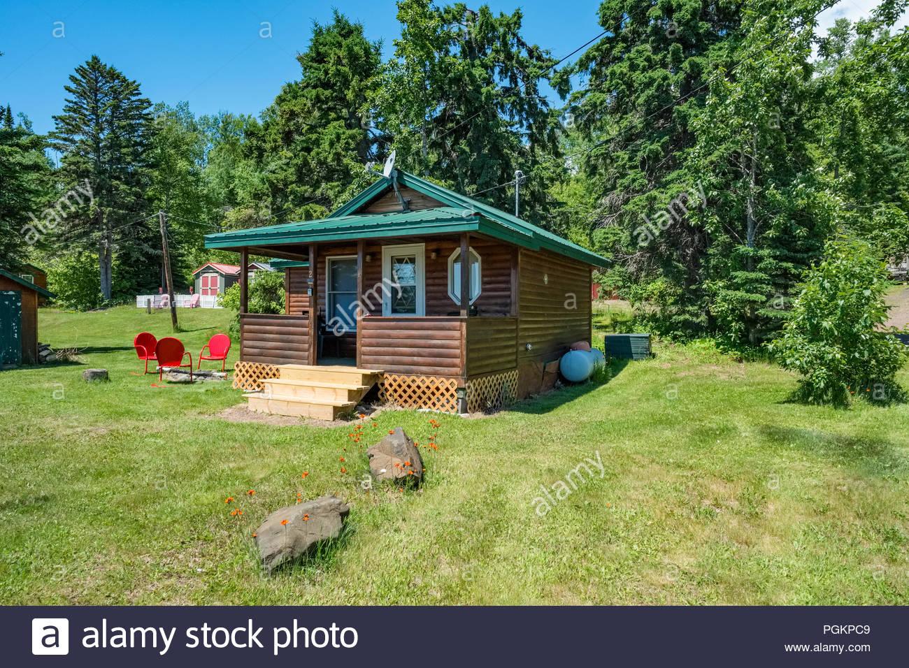 Cabins located a short walk from Lake Superior, near Grand Marais, Minnesota, USA. Stock Photo