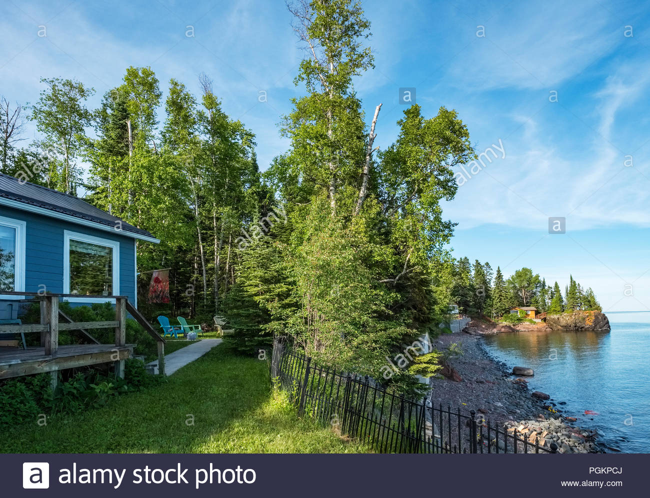 Cabin is perched on a cliff with sweeping views of Lake Superior, near Grand Marais, Minnesota, USA. Stock Photo