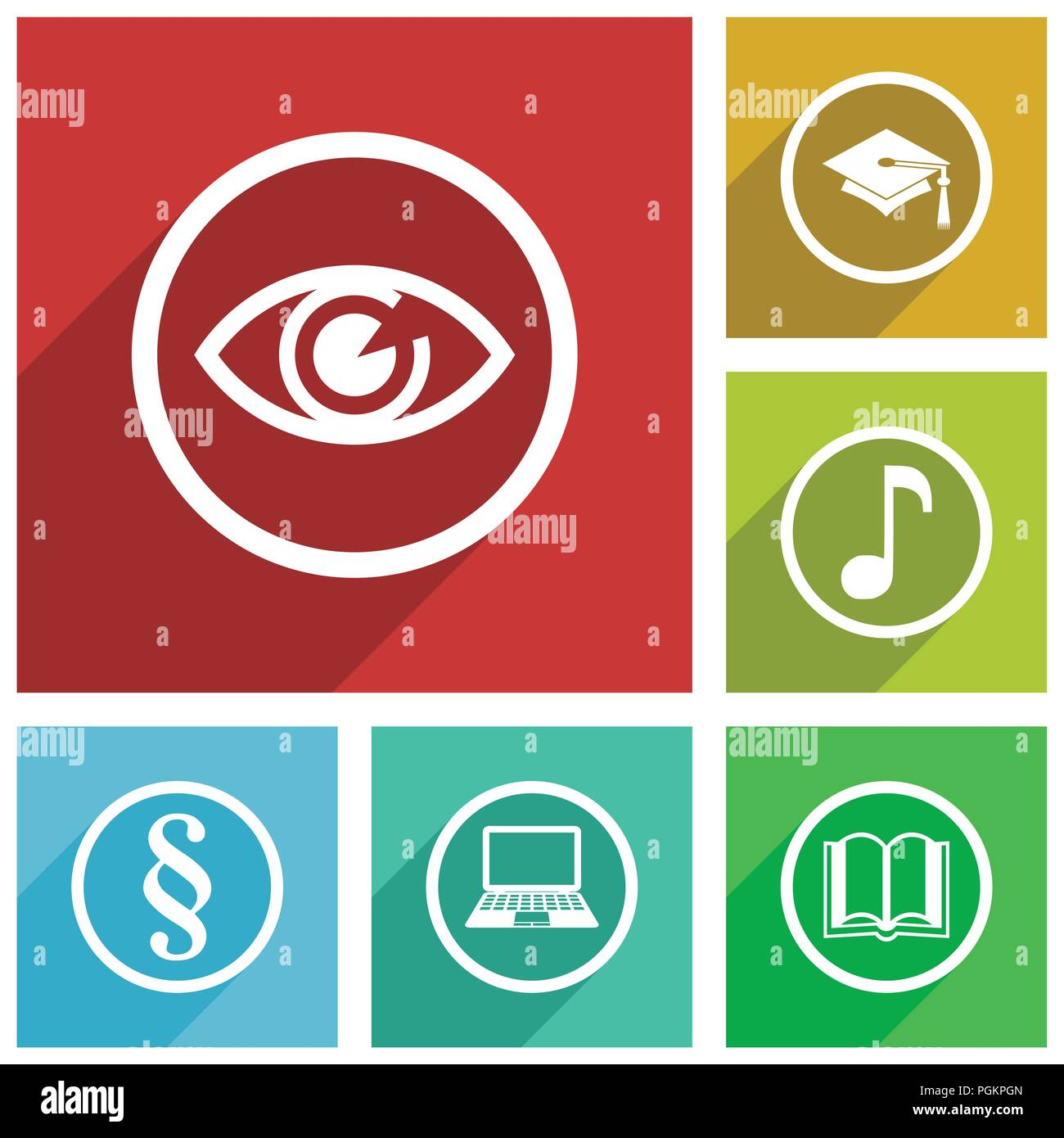 Web and internet science and education vector icons, eye, graduation, note, book, laptop, law flat design banners in eps 10. - Stock Image