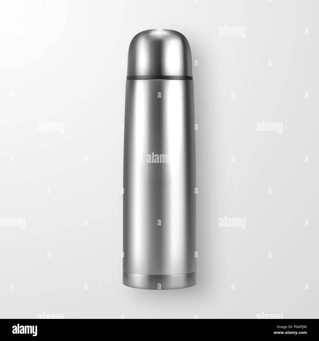 vector realistic 3d silver empty glossy metal vacuum thermo tumbler